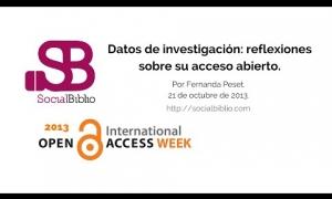 Embedded thumbnail for Semana Internacional de Acceso Abierto 2013 del 21-25 de octubre