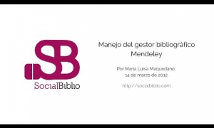 Embedded thumbnail for Manejo del gestor bibliográfico Mendeley